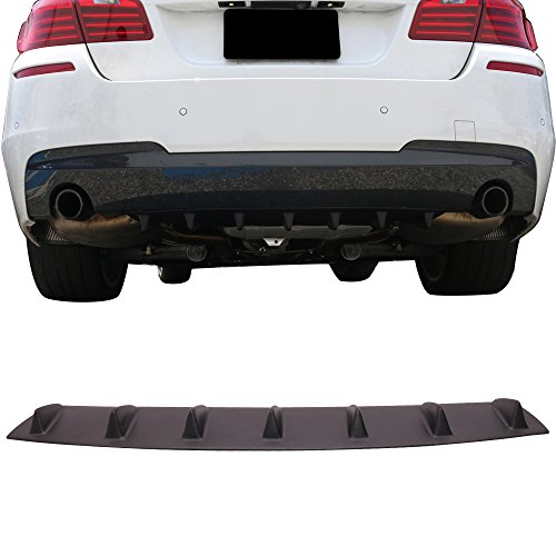 Rear Bumper Lip Diffuser Fits 2011-2016 BMW F10 5 Series | V1 Style Matte Black ABS Aftermarket Replacement Parts Rear Splitter 7 Fin by IKON MOTORSPORTS