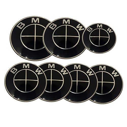 Replacement Dark Black Silver Cross Round Emblem 7pcs 82mm