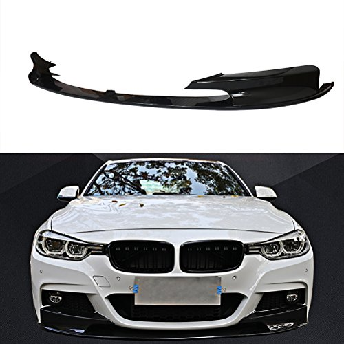NINTE for 2012-2018 BMW F30 3-Series M-Tech Front Bumper Lip – Painted Gloss Black Sport Front Spoiler – 2pcs