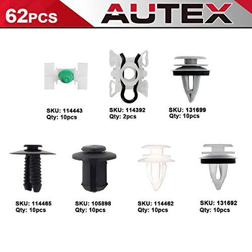 AUTEX 62PCS Door Trim Panel Engine Bumper Fastener Retainers Clips Plastic Rivet Assortment Kit For 1997 1998 1999 2000 BMW 328i 2000 2001 2002 2003 2004 2005 2006 2007 2008 2009 2010 2011 BMW M3
