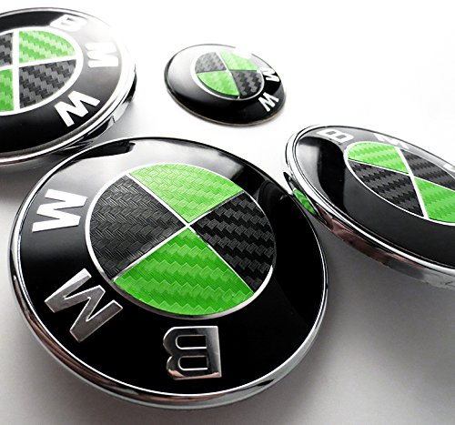 BLACK and GREEN Carbon Fiber Sticker Overlay Vinyl for All BMW Emblems Caps Logos Roundels