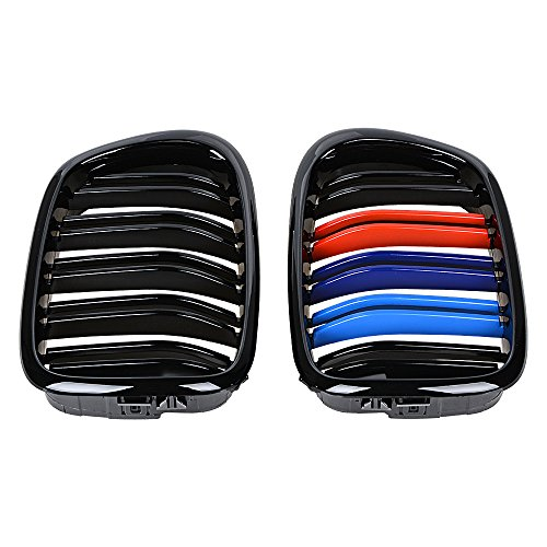 2x Euro Front Center Kidney Grille Grill Replacement for 97-03 BMW E39 5-Series 525 528 530 535 540 M5 4DR 4 Door (Glossy Black + M Color (dual line))