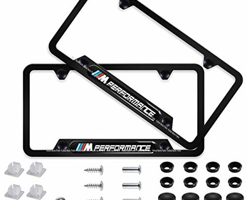 cargogogo 2pcs M Performance Stainless Steel License Frame with for BMW,with Screw Caps Cover Set-Black (BMW -M Performance)