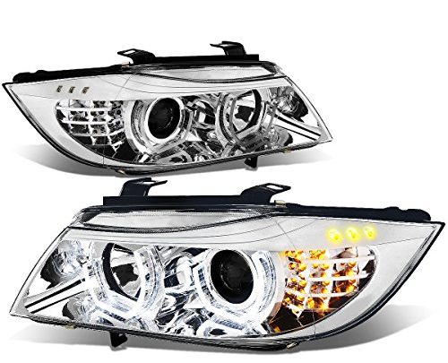 For BMW E90 3-Series Pair of 3D Halo Projector Amber LED Corner Headlights (Chrome Housing)