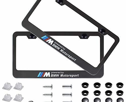Fubai Auto Parts 2pcs M Motorsport Stainless Steel License for BMW Plate Frame with Screw Caps Cover Set, Matte Black