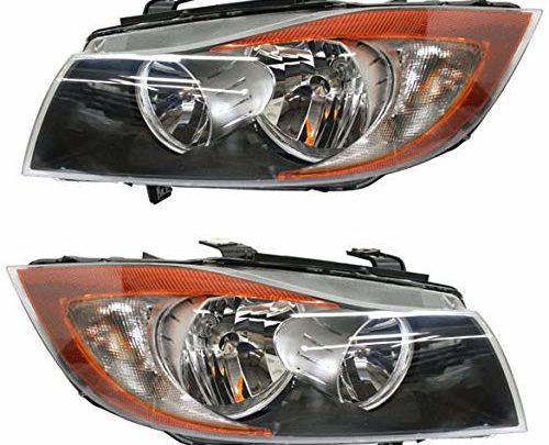Headlight Assembly Compatible with BMW Halogen Passenger and Driver Side