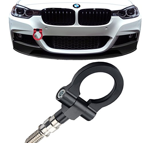 JGR Track Racing Style Tow Hook Towing Eye CNC Aluminum Screw On Car Accessories Front Rear Bumper for BMW 3 Series 318 320 323 325 328 330 335 316 340 F30 F31 F34 GT 2012+ Black