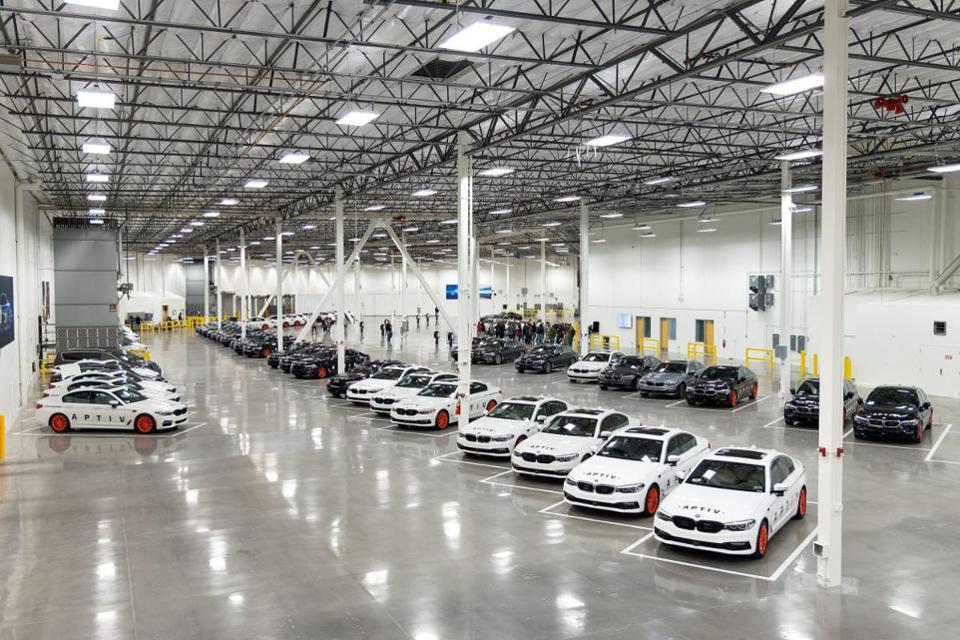 The garage of Aptiv's Las Vegas Technical Center can hold up to 130 vehicles