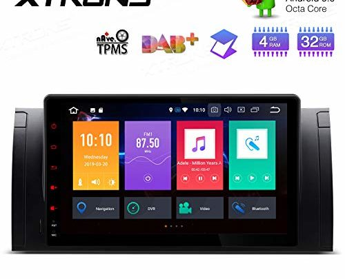 XTRONS Android 9.0 Car Stereo Video Player Octa Core 4G RAM 32G ROM GPS Radio 9 Inch HD Multi-Touch Screen Head Unit Supports Screen Mirroring WiFi OBD2 DVR TPMS NO-DVD for BMW X5 E53 E39