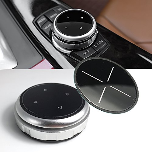 1 Set Multimedia Knob Controller Wheel Replacement Cover w/Two Different Style Button Stickers For BMW 1 3 5 Series X1 X 3 X5 X 6 iDrive (Silver)