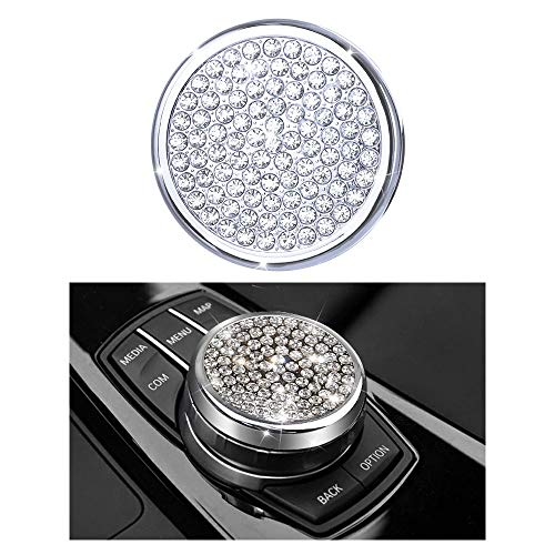 1797 Compatible iDrive Controller Caps for BMW Accessories Parts Multimedia Knob Covers Decal Bling Interior Decorations 3 5 7 Series X3 X5 F30 F10 G30 F01 G01 F15 AWD Women Men Crystal Silver 57mm