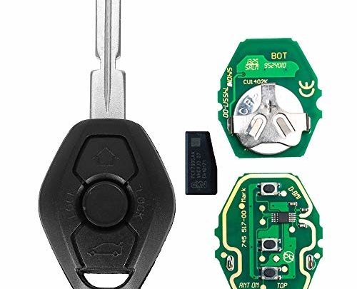 Dudely New Uncut Chip ID44 315MHz 433MHz Keyless Entry Remote Replacement Car Key Fob for BMW 3, 5, 7 Series, M3, M5, M6, Z3, Z4, Z8 (LX8FZV, 6955750)