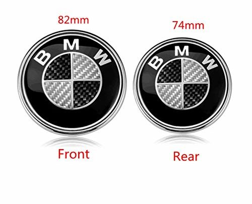 BMW Hood Roundel Emblem Logo Replacement Hood or Trunk Emblem Logo Front 82mm Rear 74mm for All Models BMW E30 E36 E46 E34 E39 E60 E65 E38 X3 X5 X6 3 4 5 6 7 8 (Black + White)