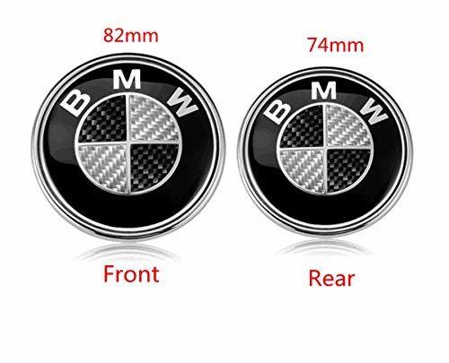 BMW Hood Roundel Emblem Logo Replacement Hood or Trunk Emblem Logo Front 82mm Rear 74mm for All Models BMW E30 E36 E46 E34 E39 E60 E65 E38 X3 X5 X6 3 4 5 6 7 8 (Black + White)