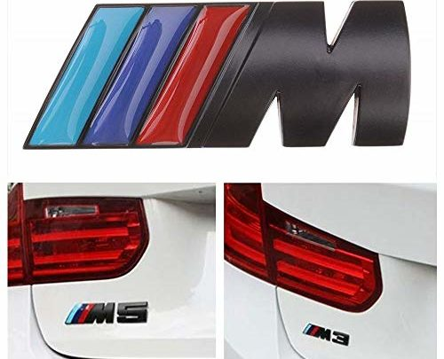 BMW M Power Badge Tri Color, Rear Emblem Car Decal Logo Sticker for BMW 1 3 5 7 Series E30 E36 E46 E34 E39 E60 E65 E38 X1 X3 X5 X6 Z3 Z4 (Black)