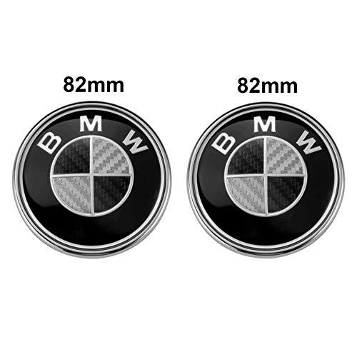 2PC BMW Emblems Hood and Trunk, BMW 82mm Logo Replacement for All Models BMW E30 E36 E34 E60 E65 E38 325i 328i X3 X5 X6 3 4 5 6 7 (Black+White)