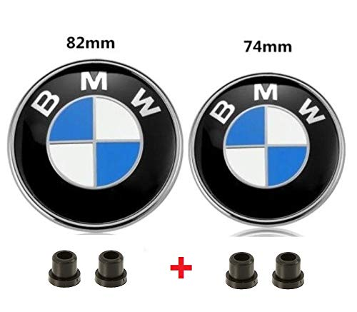 AutoPartsBestBuy Set of 2 BMW Hood Roundel Emblem Logo Replacement Hood 82mm + 2 Grommets and 74mm for All Models BMW E30 E36 E46 E34 E39 E60 E65 E38 X3 X5 X6 3 4 5 6 7 8