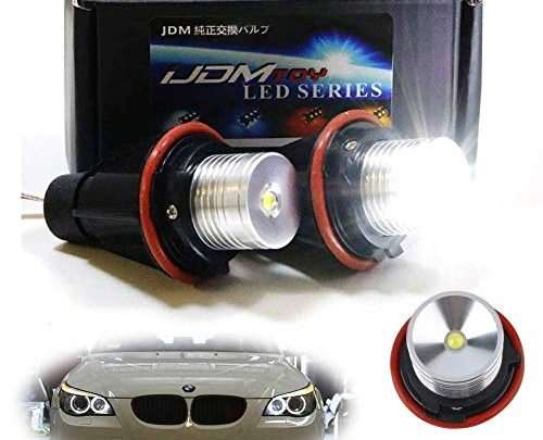 iJDMTOY (2) White LED Angel Eye Ring Marker Bulbs For BMW 5 6 7 Series X3 X5 (E39 E53 E60 E63 E64 E65 E66 E83), 7000K White