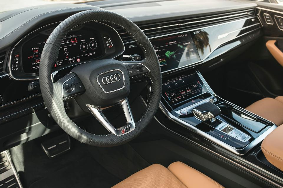 The Audi RS Q8's interior can be busy or, with the screens switched off, as clean.