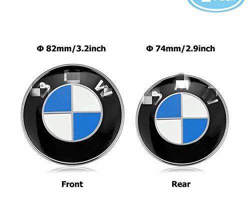 Emblems Hood and Trunk, Emblem Logo for BMW Replacement 82mm + 74mm for ALL Models BMW E30 E36 E46 E34 E39 E60 E65 E38 X3 X5 X6 3 4 5 6 7 8 (82mm + 74mm) (Bmw)