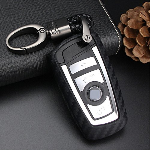 M.JVisun Soft Silicone Rubber Carbon Fiber Texture Cover Protector for BMW Key Fob, Car Keyless Entry Remote Key Fob Case for BMW X3 X4 M5 M6 GT3 GT5 1 2 3 4 5 6 7 Series – Black – Weave Keychain