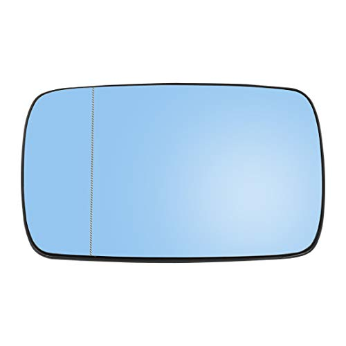 uxcell Driver Side Left Side Mirror Glass with Backing Plate Heated Blue Tinted Glass for BMW E39 E46 320i 330i 325i 525i