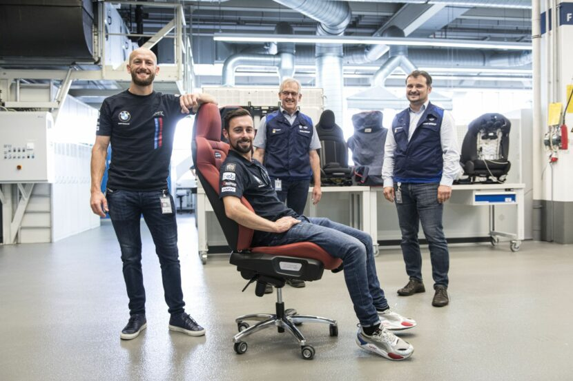 BMW Motorrad WorldSBK Team garage presented with special M seats