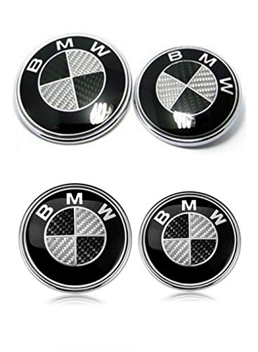 Set of 4 BMW Hood Roundel Emblem Logo BMW Replacement Hood or Trunk Emblem Logo Front 82mm Rear 74mm for All Models BMW E30 E36 E46 E34 E39 E60 E65 E38 X3 X5 X6 3 4 5 6 7 8 (Black + White)
