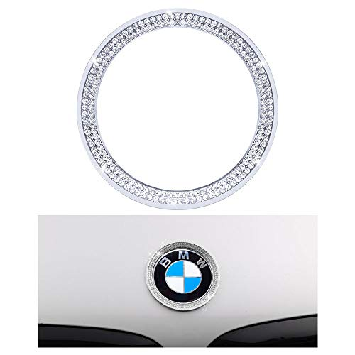 1797 Compatible Front LOGO Caps for BMW Accessories Parts Emblem Covers Decals Stickers Bling Interior Decorations 3 Series F30 G20 320i 325i 325ix 328d 328i 330i 335i AWD Women Men Crystal Silver