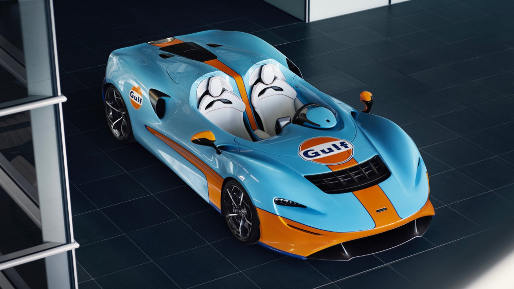 Check out the McLaren Elva speedster in classic Gulf livery
