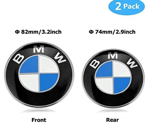 BMW Emblems Hood and Trunk, 82mm + 74mm BMW Logo Replacement for BMW E46 E30 E36 E34 E38 E39 E60 E65 E90 325i 328i X3 X5 X6 3 4 5 6 7 8