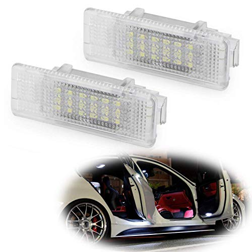 iJDMTOY Xenon White LED Step Courtesy Lights Compatible With BMW E39 5 Series, E53 X5, Z8, Powered by 3W 18-SMD LED Lights, Replace OEM Footwell, Side Door Lamps