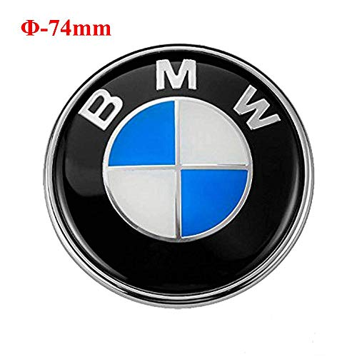 74mm BMW Emblem, 2 Pin Replacement Badge Hood or Trunk Logo Fit for BMW 3-Series, 5-Series, 6-Series, 7-Series, X1, X3, X5