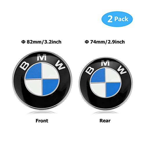 BMW Emblems Hood and Trunk, BMW Emblem Logo Replacement 82mm + 74mm for ALL Models BMW E30 E36 E46 E34 E39 E60 E65 E38 X3 X5 X6 3 4 5 6 7 8 (74mm + 82mm)