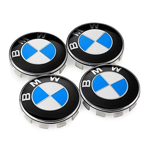 Wheel Center Caps Emblem for BMW, 68mm Standard BMW Logo Rim Center Hub Cap for All Models with Stock BMW Wheels Blue & White Color 4PCS