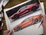 Chip Foose draws the Chevrolet Corvette C8