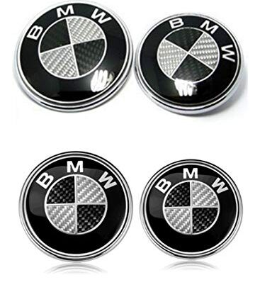 Set of 4 BMW Hood Roundel Emblem Logo BMW Replacement Hood or Trunk Emblem Logo Front 82mm Rear 74mm for All Models BMW E30 E36 E46 E34 E39 E60 E65 E38 X3 X5 X6 3 4 5 6 7 8 (Black + White)