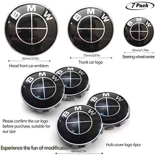 7pcs B-M-W Black Emblem,B-M-W Wheel Center Caps Hub CapsX4,B-M-W Emblem Logo Replacement for Hood/Trunk 68cm/74cm,BMW Steering Wheel Emblem Decal (fit all Black BM 7pcs 1)