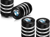 Suitable for BMW 4 Pieces of Metal car Wheel Waterproof and dustproof Valve stem Cover Suitable for BMW BMW X1 X3 M3 M5 X1 X5 X6 Z4 3 5 7 Series Logo Shape Decoration Accessories (4 Pieces Black)